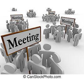 différent, autour de, gens, beaucoup, rassemblement, groupes, signes, réunion
