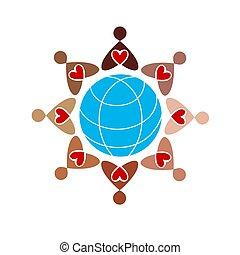 différent, autour de, gens colorent, pictograms, figures, peau humaine, icône, globe.