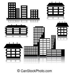 différent, -, bâtiments, illustration, maisons, vecteur, espèce
