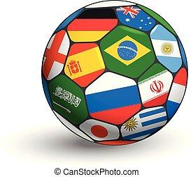 différent, balle, objet, isolé, countries., jeu, concept, drapeaux, blanc, mondiale, football