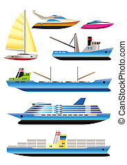 différent, bateaux, bateau, types