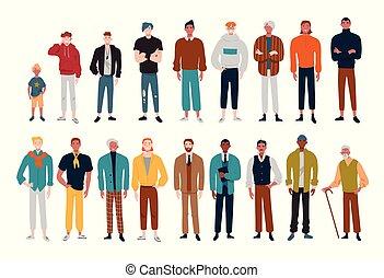 différent, beaucoup, hommes, ages., caractères, mâle