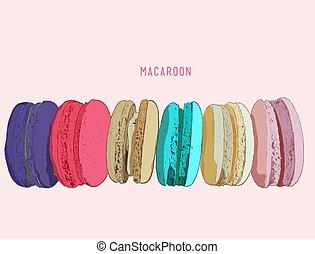 différent, biscuits, goutte, isolé, macarons, pile, francais, macarons, ombre, ou