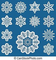 différent, blanc, collection, flocons neige