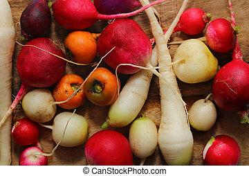 différent, bois, légumes, planche, racine
