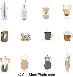 différent, boissons, set.