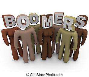 différent, boomers, plus vieux, âge, gens, -, races