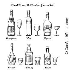 différent, bouteilles, alcool, lunettes