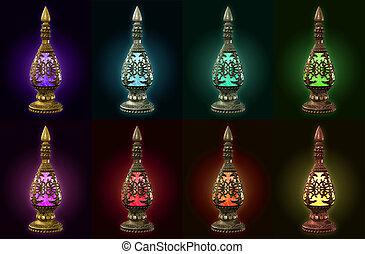 différent, bouteilles, métal, couleurs, matériels, huit