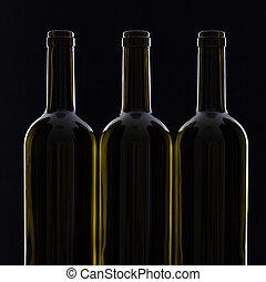 différent, bouteilles, trois, vin
