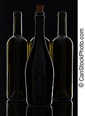 différent, bouteilles, vin, quatre