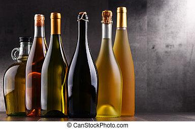 différent, bouteilles vin, sorts, composition