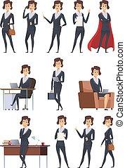 différent, bureau affaires, articles, ouvriers, pose, dessin animé, characters., vecteur, femme, images, action, confection, travaux, compagnie, soi