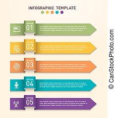 différent, business, flèches, cinq, gabarit, infographics, représenté, options