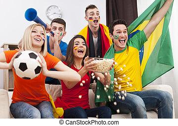 différent, but, favori, nations, célébrer, équipe, amis