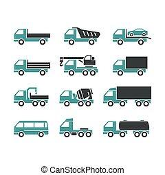 différent, camions, icônes