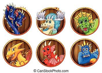 différent, caractères, dragons