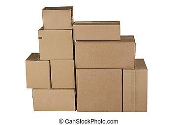 différent, carton, arrangé, boîtes, pile