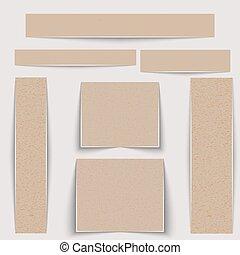 différent, carton, set., emballage, texture, papier, sizes., textured, bannières, ou