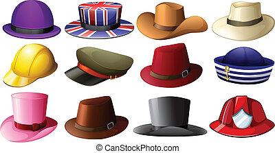 différent, chapeau, conceptions