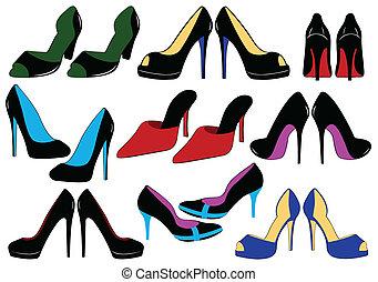 différent, chaussures, illustration