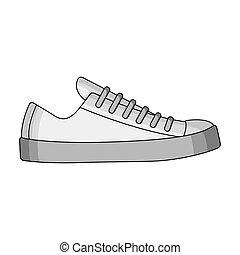 différent, chaussures, quotidiennement, style, raster, symbole, life., icône, stockage, espadrilles, monochrome, unique, illustration., haut., unisexe, dentelle, sports, bitmap, blanc