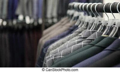 différent, cintre, magasin, hommes, contre, couleurs, fond, ...