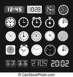 différent, clocks, noir, blanc, collection