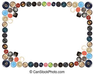différent, collage, beaucoup, cadre, isolé, boutons, blanc