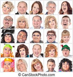différent, collage, beaucoup, humain, faces, heureux