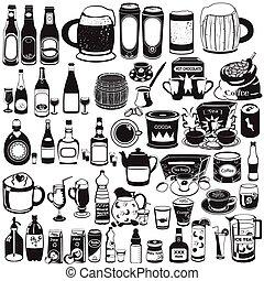 différent, collection, boissons
