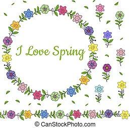 différent, coloré, border., printemps, couronne, seamless, flowers., brush., horizontal, interminable