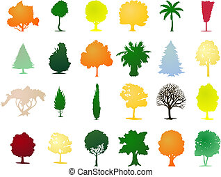 différent, colour., illustration, one-ton, vecteur, arbres