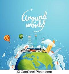 différent, concept, autour de, voyage, illustration, tour, vecteur, vehicle., mondiale, logo