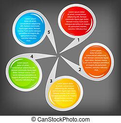 différent, concept, coloré, illustration affaires, vecteur, bannières, circulaire, design.
