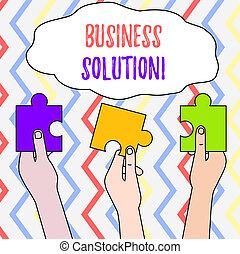 différent, concept, coloré, professionnels, solution., texte, puzzle, puzzle, trois, stratégique, tenu, signification, planification, morceaux, hands., services, écriture, inclure, évaluation, vide