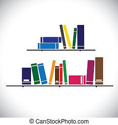 différent, concept, empilé, coloré, tailles, étagère, étude, contient, -, bibliothèque, couleurs, graphique, livres, collection, vector.