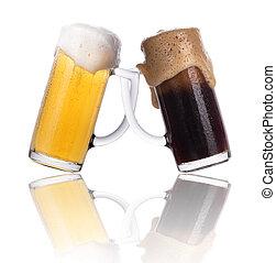 différent, concept., isolé, amitié, bière, lumière, sombre, personnes