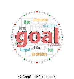 différent, concept, mot, business, goal., texte, collage, termes, association