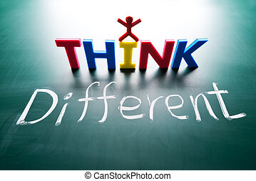 différent, concept, penser