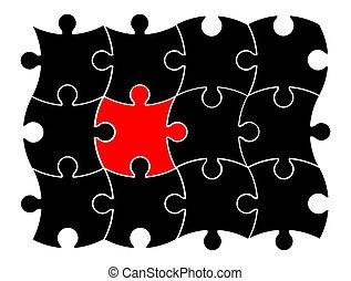 différent, concept, puzzle, puzzle, une, vecteur, icône, symbole, design.