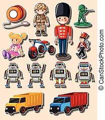 différent, conception, autocollant, camions, jouets