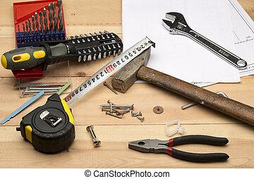 différent, construction, réparation, ensemble, outils