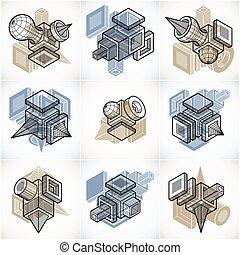 différent, constructions, résumé, collection, ingénierie, vectors, set.