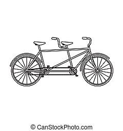 différent, contour, vélo, bicycle., style, symbole, double, two., bike., plaisir, icône, vecteur, mode, écologique, tandem, transport., stockage, unique, illustration.