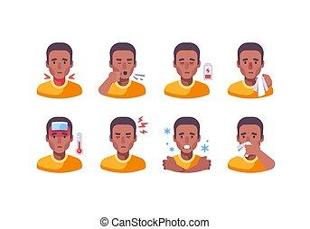 différent, coronavirus, homme, monde médical, américain, africaine, icône, ensemble, collection., symptômes, grippe, symptoms., caractère