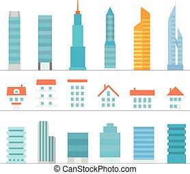 différent, couleur, bâtiments, collection, isolé, silhouettes, blanc