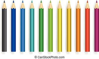 différent, couleur, crayons, vecteur, ensemble, isolé, blanc