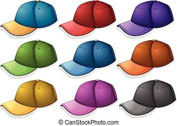 différent, couleurs, casquettes