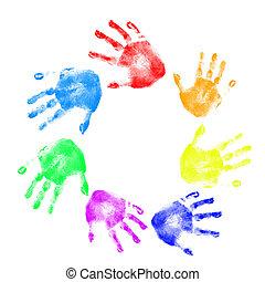 différent, couleurs, handprints